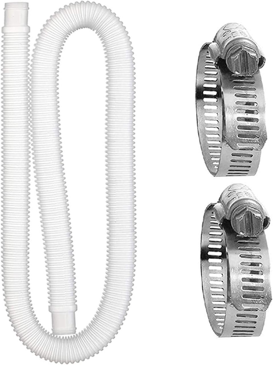 CHIKIXSON Piscina Manguera de Repuesto, Manguera de Repuesto para Piscinas Elevadas, Manguera de Repuesto para Bomba de Filtro de Piscina con 2 Anillos de Conexión de Metal (1,5 M)