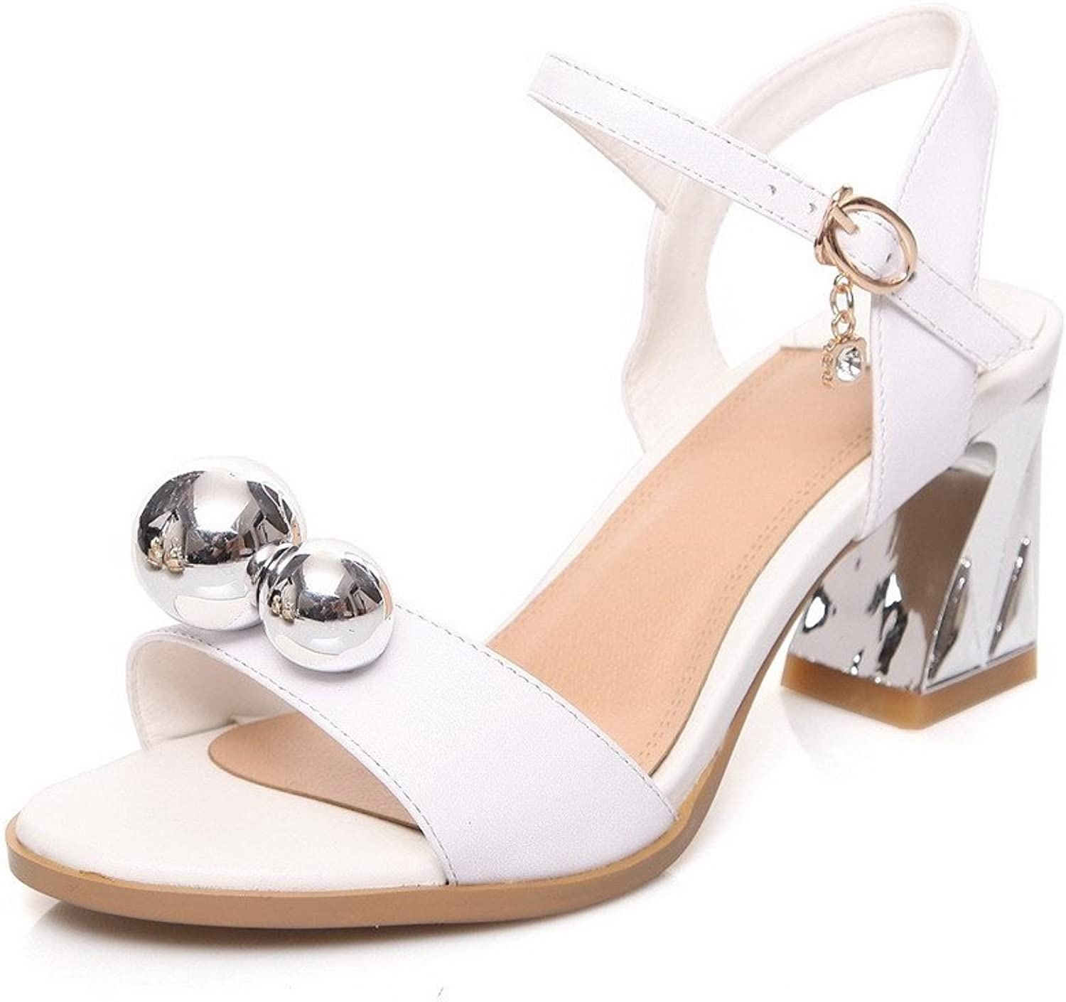 AllhqFashion Women's Kitten Heels Soft Material Solid Buckle Open Toe Sandals