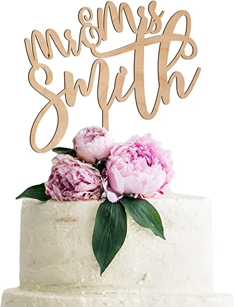 Customized Rustic Cake Topper Wedding Acrylic Mrs Mr Personalized Name Gift