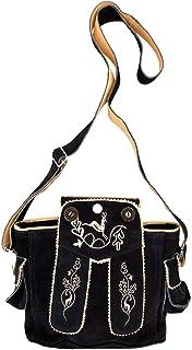 TaschenSensation Trachtentasche Dirndltasche Lederhosen-Tasche Umhängetasche Wild-Leder schwarz