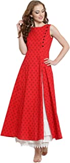 Red Long A-line Kurta With White Skirt