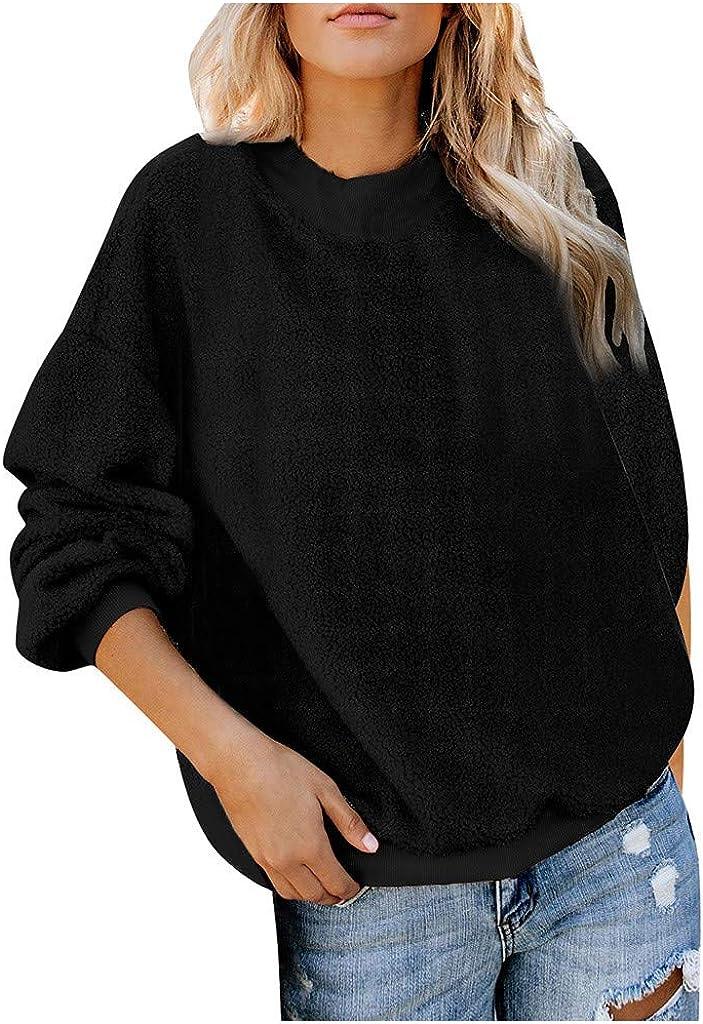KYLEON Women's Sweatshirt Casual Long Sleeve Sherpa Fuzzy Fleece Solid Fluffy Pullover Sweatshirt Outwear Jumper Coat Tops
