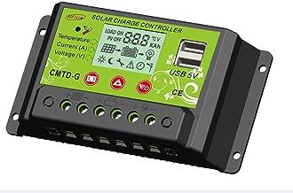 UEIUA Solar Charge Controller, 12V/24V 10A PWM Solar Charge Controller Auto Switch LCD Display Solar Panel Regulator with Dual USB(10A, Green)