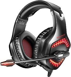 Auriculares para Juegos para PS5, Xbox One, Switch, Auriculares de PC con Sonido Envolvente 7.1, Auriculares Alámbrico con Micrófono Cancelación de Ruido & Luz LED, Control del Volumen audifonos Gaming - Rojo
