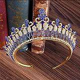 Celada de Novia Princesa Reina Tiara de la Corona, Corona de la Vendimia del Rhinestone de la Venda para la Ceremonia de Boda de la Novia del Partido Grandbanquet,Azul