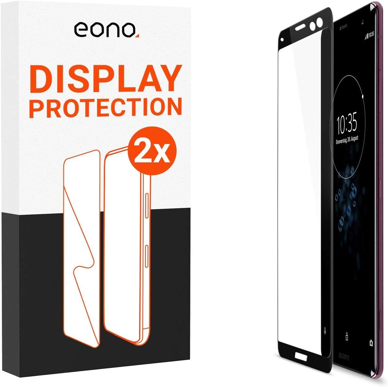 Eono - Cristal Protector 3D (2 Unidades) Compatible con Sony Xperia XZ3 – Cristal Protector con 100% Cobertura de Pantalla contra roturas – 9H, Pantalla Completa
