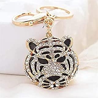 Cool Crystal Rhinestone Tiger Head Shape Keyring Charm Pendant Purse Bag Key Ring Clip Keychain (Gold)