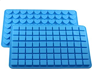 Mujiang 70 Cavity Heart 77 Cavity Square Ice Cube Tray Silicone Candy Chocolate Molds Set of 2