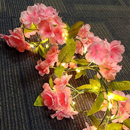 I3C Planta Artificial, Guirnalda Artificial Hecha de Rayón, Hecha a Mano, Luces de Cadena de Flores Decorativo, Decoración de Ventanas, Bodas y Mesa, Funciona con 3 Pilas AA (no incluidas), 20 LED, 2m