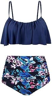 Dubocu LCC Women's Sling Ruffle Print Swives National Wind Swimsuit Bikini