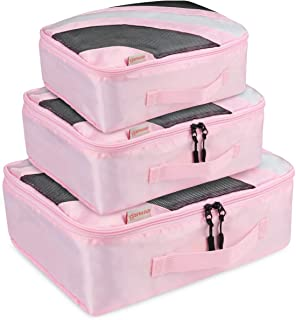 Idefair Travel Packing Cubes, 3Pcs Travel Luggage Packing Organizers for Packing Clothes, Pink