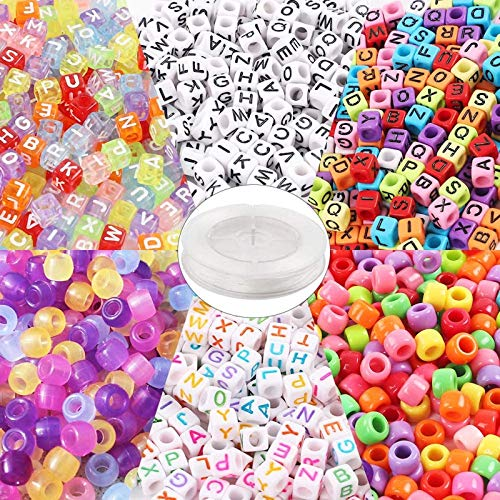 Quefe 1500pcs Beads Kit Letter Beads Assorted Acrylic Alphabet Beads Large Hole Beads UV Beads 6 Styles with 50 Meters Elastic String for Bracelets Crafts and Necklaces Making