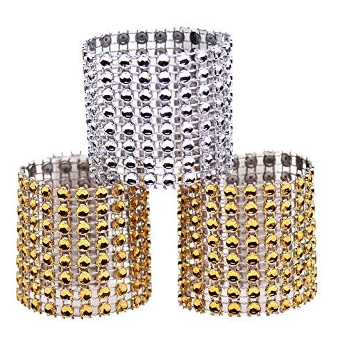 Eyourlife 100 Stücke Strass Serviettenring Golden Silber Serviette Ring mit Klettverschluss für Hochzeit Weihnachten Ball Dinner Deko Tischdeko