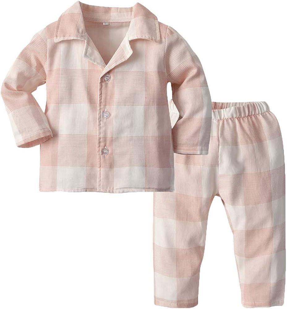 Toddler Baby Boys Girls Pajamas Unisex Baby Kids Cotton Long Sleeve Button-Front PJs Sleepwear Sets(Pink Plaid, 70/6-12 Months)