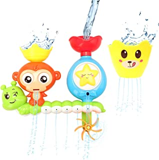 Barwa Bath Toys for Babies, Shower Spray Toys for Toddler Kids Water Shower Bathtub Toy with Stackable and Nesting Cups, f...