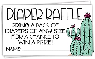 50 Cactus Diaper Raffle Tickets for Baby Shower - Invitation Inserts - Desert Shower Game for Guests
