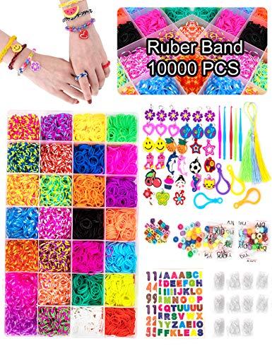 Volance DIY Pulseras Gomas, Gomas Para Pulseras de Colores 28 Colores + Muchos Pequeños Accesorios, los Mejores Regalos 10000