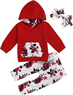 FUTERLY Baby Girl Clothes Long Sleeve Floral Hoodie Sweatshirt Pants with Pocket Headband Infant Outfit Sets(6-12 Month,80)