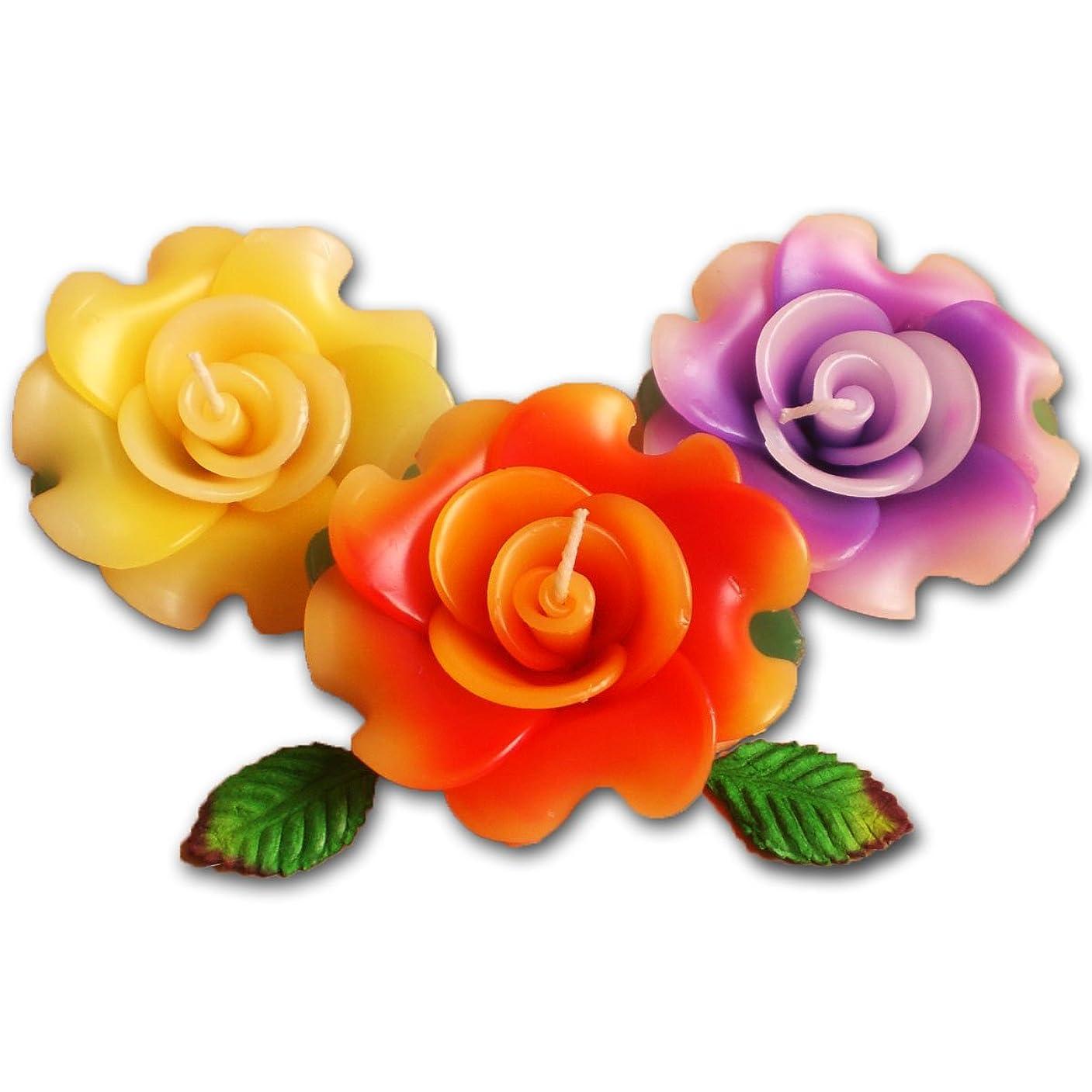 寝室ひばり稚魚フローティングキャンドル ローズ薔薇 12個入り アソート 香りつきアロマキャンドル 水に浮かぶ 退職ギフト 結婚式二次会プチギフト (12個入り)
