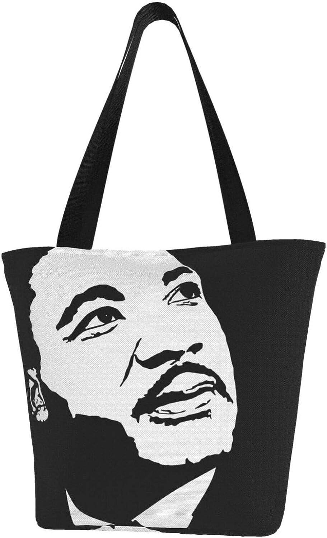 Black Art Martin Luther King Day Themed Printed Women Canvas Handbag Zipper Shoulder Bag Work Booksbag Tote Purse Leisure Hobo Bag For Shopping
