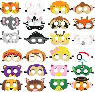 DANGSHAN Animal Felt Masks Party Favors for Kid (24 Packs) -Felt and Elastic - Great Idea for Petting Zoo   Farmhouse   Jungle Safari Theme Birthday Party