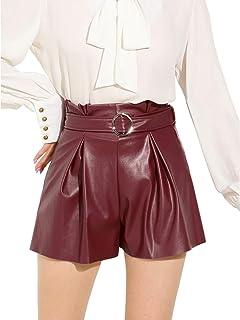 Allegra K Women's High Waist Wide Leg Faux PU Leather Ruffle Belt Shorts