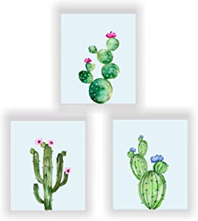 Barri Design Cacti Prints,Cactus Decor, Botanical Prints Cactus Wall Art Watercolor Cactus Art, Modern Prints, Set of 3 Cactus Wall Decor (UNFRAMED)
