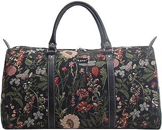 Signare Gobelin-Gepäcktasche für Reisen und Sport/große Reisetasche für Damen Sporttasche Damen mit Garten Designs Morgengarten Schwarz