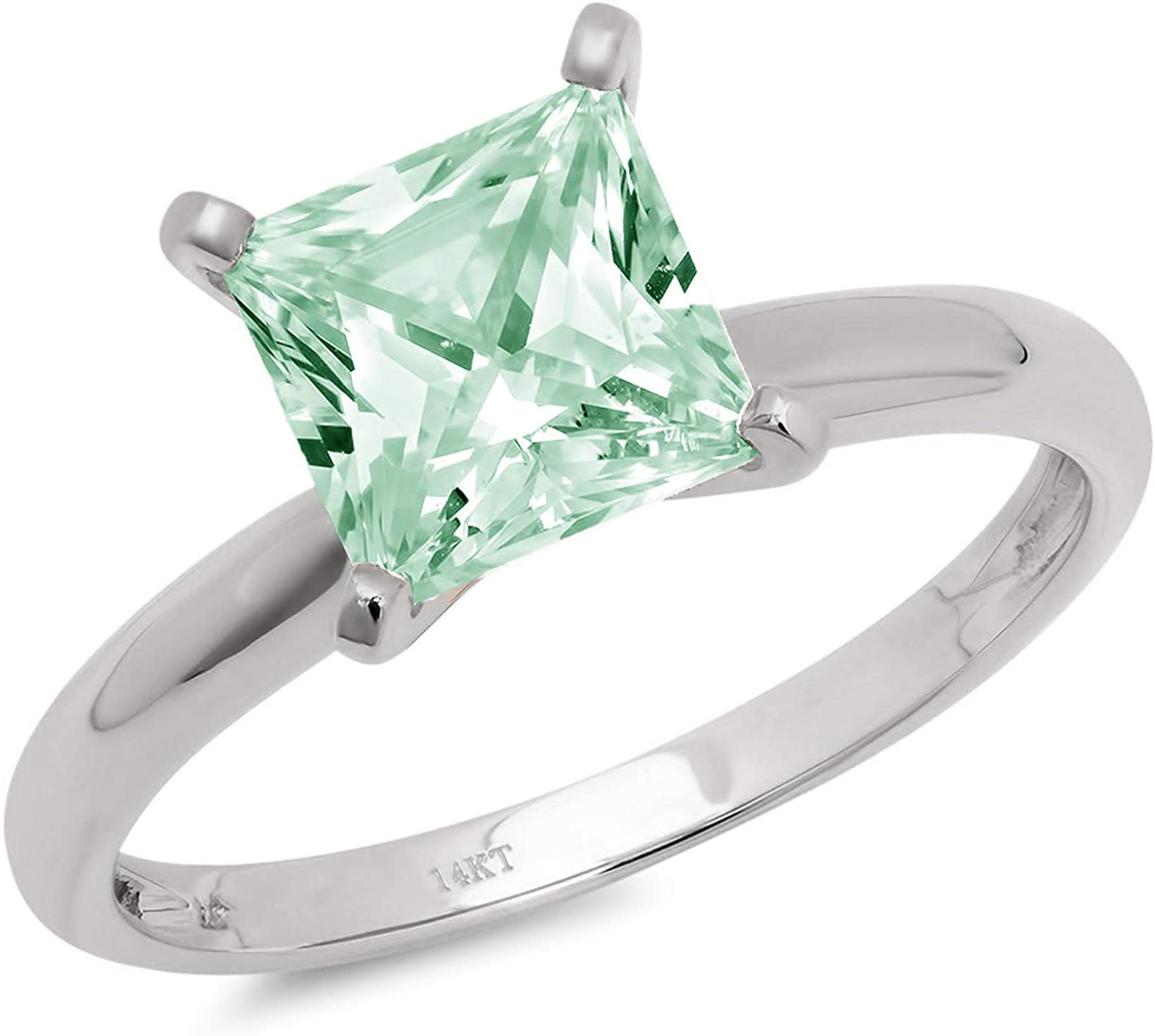 2.9ct Brilliant Princess Cut Solitaire Light Sea Green Simulated Diamond Cubic Zirconia Ideal VVS1 D 4-Prong Engagement Wedding Bridal Promise Anniversary Ring Solid 14k White Gold for Women