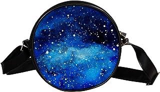Coosun Wasserfarben-Schultertasche mit blauem Planeten-Motiv, runde Umhängetasche für Kinder und Damen