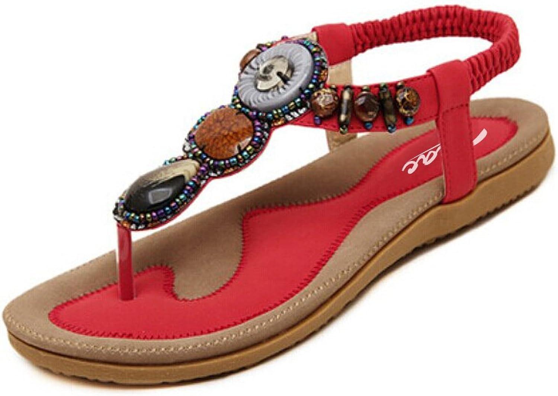 SIKETU Zicac Women's T Strap Sling Back Bohemian Beaded Flat Beach Thong Sandals(9, Red)