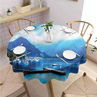 BNAREO Colorful Round Tablecloth Country Italian Harbor Village Holiday Dinner Picnic Kitchen D51