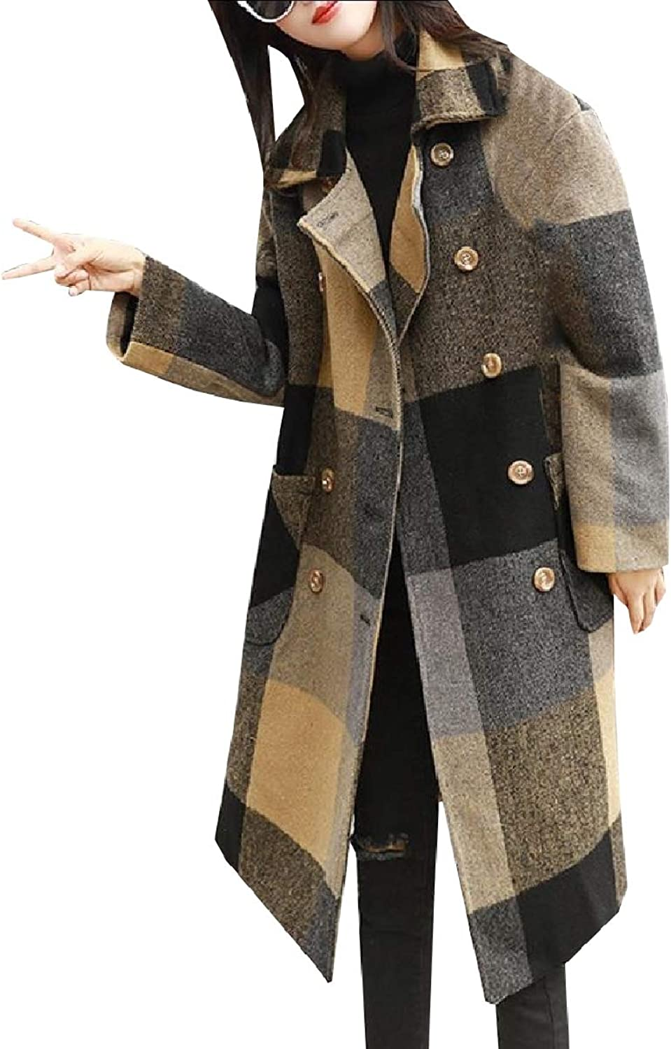 ROHEP Women's WoolBlend Premium Plaid Vintage Trench Pea Coat Outwear