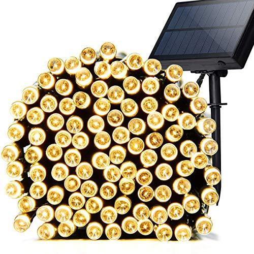 AeeYui Cadena luminosa exterior solar, luces solares exteriores 12 m 100 LED solar luz tira solar luces decoración de fiesta impermeable IP65 cadena luminosa para jardín, árbol, patio, fiesta