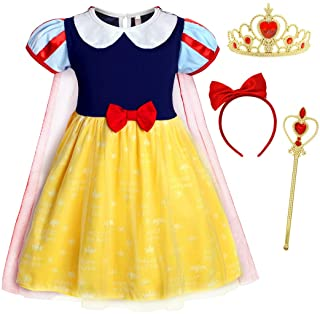 AmzBarley Snow White Little Girls Dress Up Costume Toddler Halloween Birthday Party Cosplay Costumes with Accessories