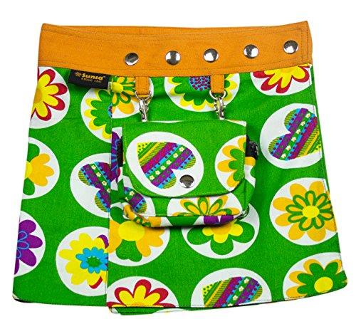 SUNSA Kinder Rock Minirock Wickelrock Wenderock Sommerrock Kinderrock aus Baumwolle, Zwei optisch verschiedene Röcke mit einem abnehmbaren Täschchen, Größe ist variabel verstellbar durch Druckknöpfe