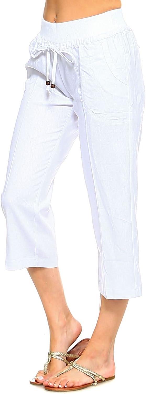 Allora Betsy Red Couture Women's Drawstring Linen Capri Pants (S4X)