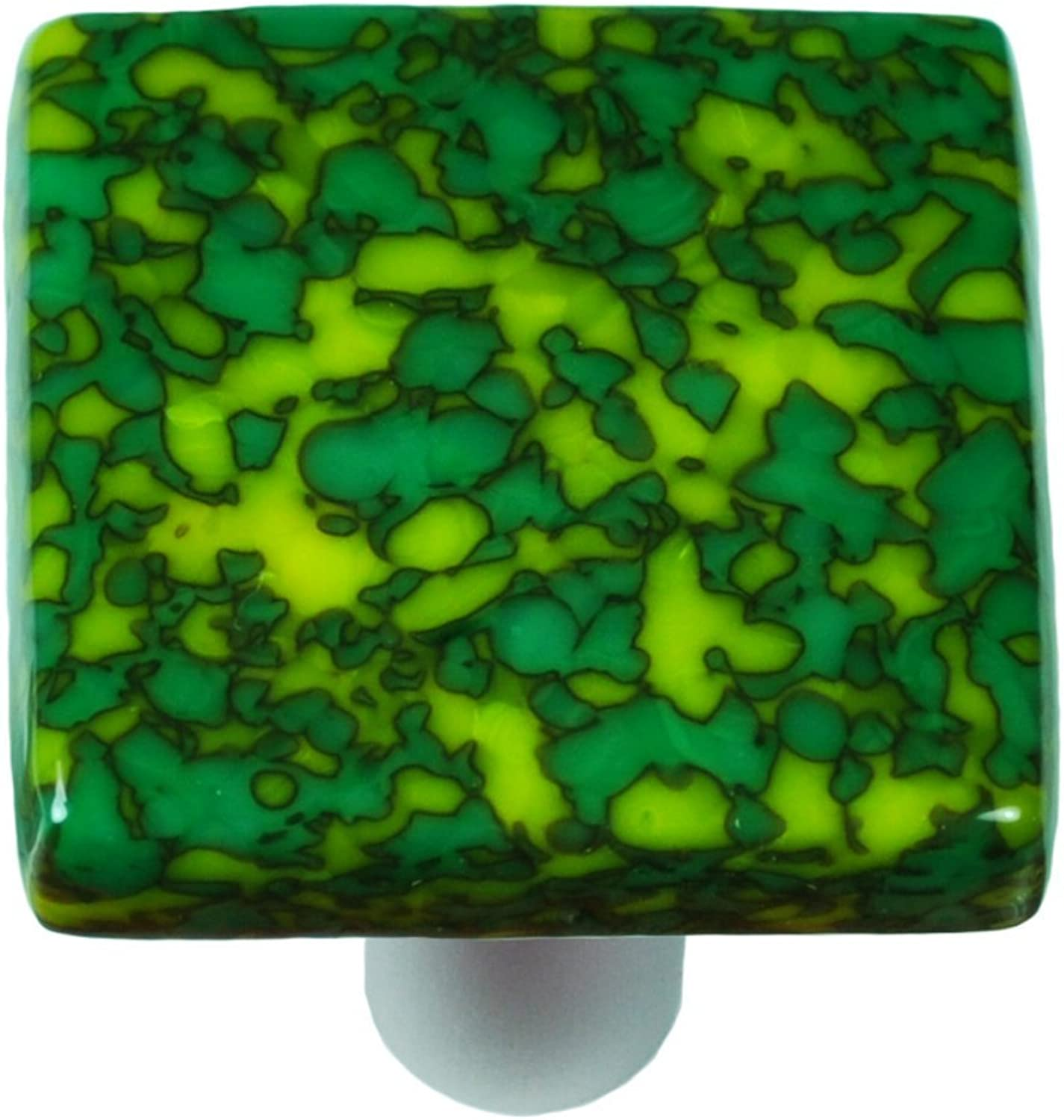 Hot Knobs HK8051-KB Granite Sunflower Yellow & Jade Green Square Glass Cabinet Knob - Black Post