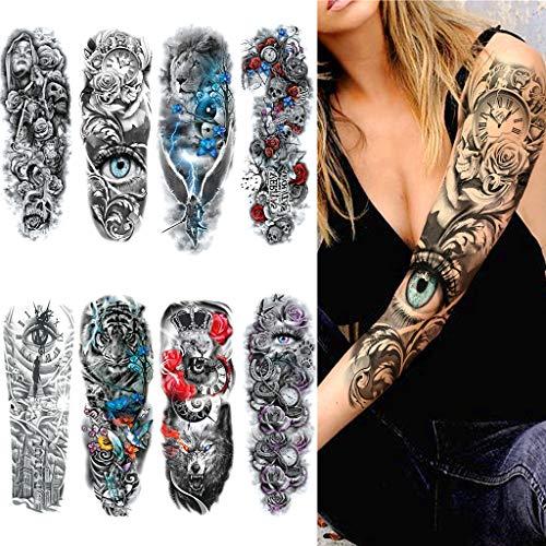 8 Fogli Tatuaggi Temporanei Braccio Completo, Feelairy Tatuaggi Braccio Grande Tattoo Sleeve Nero Tatuaggio Adesivo Corpo Realistica 3D Falso Adesivi Animali per Adulti Uomo Donna