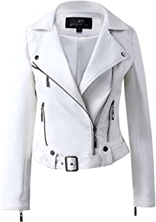 LingLuoFang LLF Womens Faux Leather Zip Up Moto Biker Jacket with Many Details