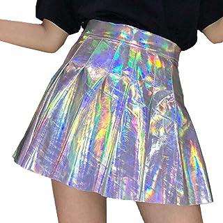 806bf0e8b16 Juleya Argent Métallique A-Line Mini Jupe Femme Punk Holographique  Hologramme Jupe Patineuse Taille Haute