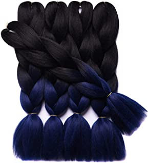 ZiqiFashion 3packs/lot Folded 24inch Two Tone Color Black Navy Blue Heat Resistent Fiber Ombre Synthetic Braiding Hair Extensions Jumbo Braids Hair Bulk …