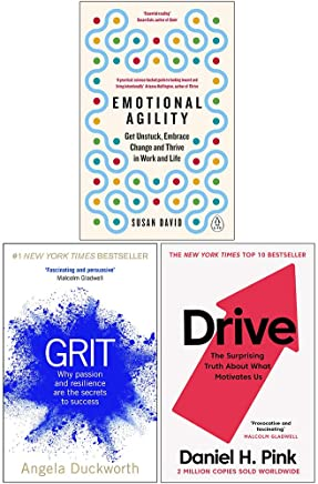 Emotional Agility, Grit: Why passion and resilience are the secrets to success, Drive The Surprising Truth About What Motivates Us 3 Books Collection Set