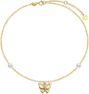 14k Yellow Gold Butterfly Anklets for Women, Real Pearl Fine Jewelry Ankle Bracelet Gifts for Her, 8.6+0.8+0.8 Inch
