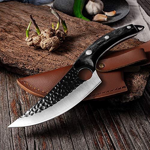 5.5'Cuchillo de cuchilla de carne Cuchillo de hueso forjado hecho a mano Cuchillo de chef Cuchillo de acero inoxidable Cuchillo de cocina Carnicero Cuchillo de pescado (Color : Black with Cover)