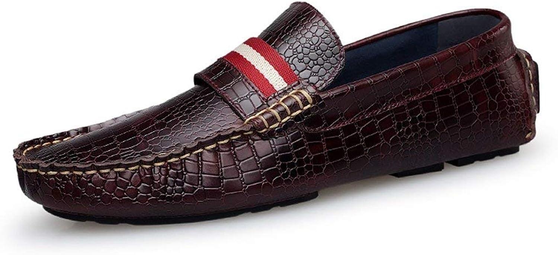 ZHRUI Boy's Men's Snake Print Stripe Casual Spring Loafers (color   Burgundy, Size   9.5 UK)
