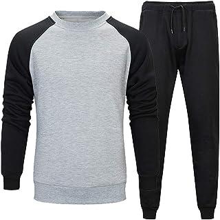 Felpe Uomo Abbigliamento Casual Uomo T-Shirt Casual + Pantaloni Casual Comodi Morbidi A Maniche Lunghe all-Match Trend Uom...
