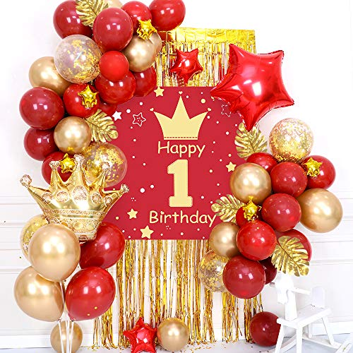 specool 1st Birthday Decoration Girl ,Happy Birthday Garland, Poster, Crown Star Foil Balloons, Golden Rain Curtain ,Turtle Leaf,Red Gold Latex Confetti Balloons for First Baby Shower