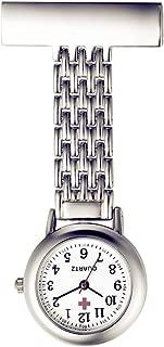 Women Men Nurse Watch Pin-on Brooch Unisex Doctor Paramedic Tunic Lapel Hanging Quartz Large Arabic Numeral Fob Pocket Watch