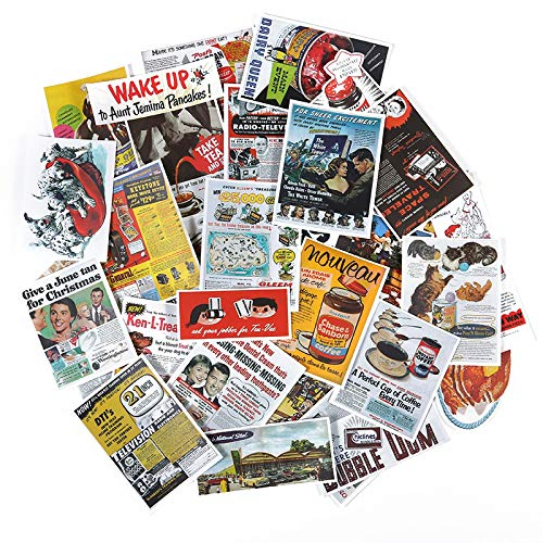 Ligoi 38pcs Retro Old Posters Old Newspaper Suitcase Stickers Chinese Style Notebook Advertising Stickers Skateboard Book Page Stickers